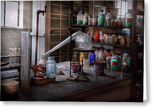 Chemist - My Retort Is Better Than Yours  Greeting Card by Mike Savad