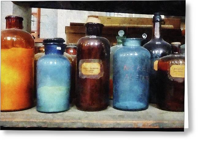 Laboratory Greeting Cards - Chemist - Orange Brown and Blue Bottles Greeting Card by Susan Savad
