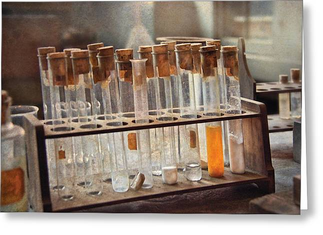 Lessons Greeting Cards - Chemist - Specimen Greeting Card by Mike Savad