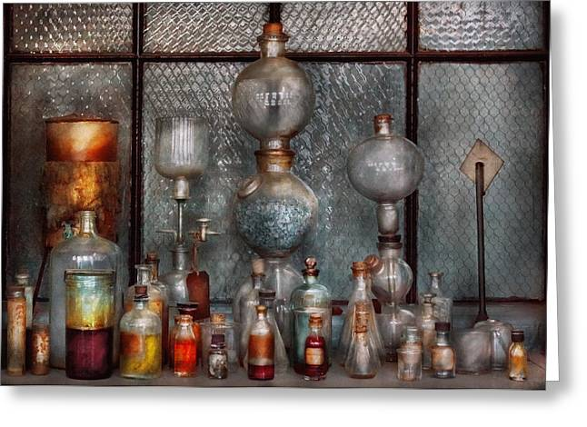 Suburbanscenes Photographs Greeting Cards - Chemist - The Apparatus Greeting Card by Mike Savad