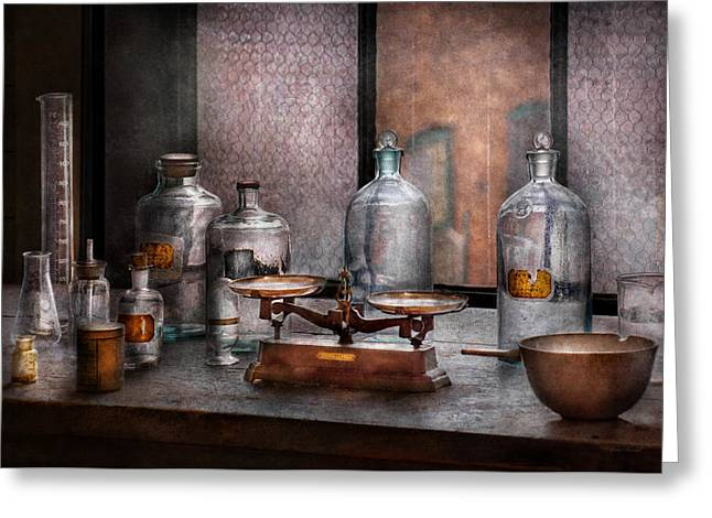 Examining Greeting Cards - Chemist - The art of measurement Greeting Card by Mike Savad
