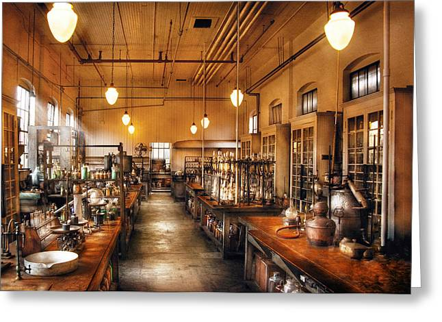 Chemist - The Chem Lab Greeting Card by Mike Savad