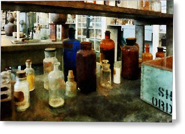 Lab Greeting Cards - Chemistry - Assorted Chemicals in Bottles Greeting Card by Susan Savad