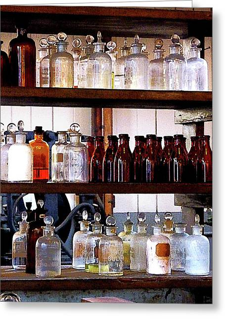 Chemicals Greeting Cards - Chemistry - Bottles of Chemicals on Shelves Greeting Card by Susan Savad
