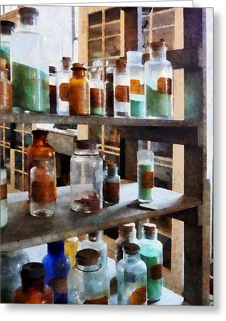 Chemistry - Bottles Of Chemicals Greeting Card by Susan Savad