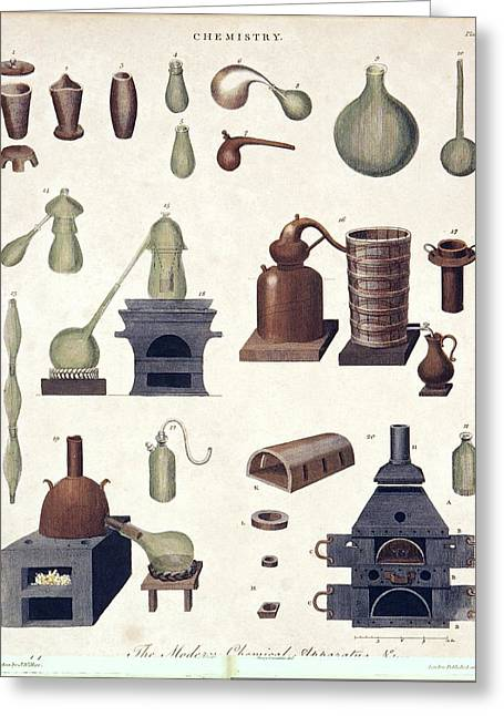 Chemistry Equipment, Early 19th Century Greeting Card by Science Photo Library