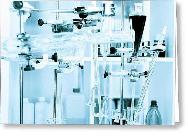 Chemistry Equipment Set Up In The Lab Greeting Card by Wladimir Bulgar