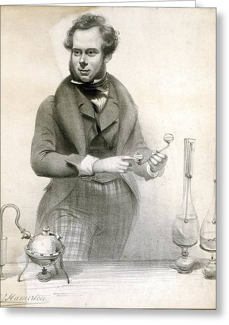 Chemistry Experiment, 19th Century Greeting Card by Science Photo Library