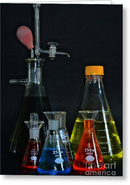 Experiment Greeting Cards - Chemistry Flasks Greeting Card by Paul Ward