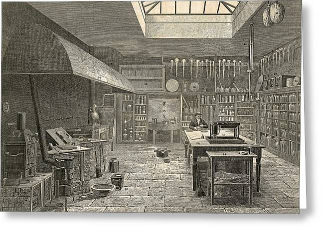Chemistry Laboratory, 19th Century Greeting Card by Science Photo Library