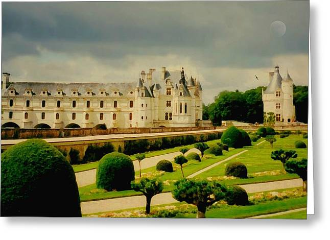 Castle In Valley Greeting Cards - Chenonceau Castle Greeting Card by Diana Angstadt