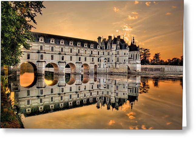 Chateau Greeting Cards - Chenonceau Castle in the twilight Greeting Card by Weston Westmoreland