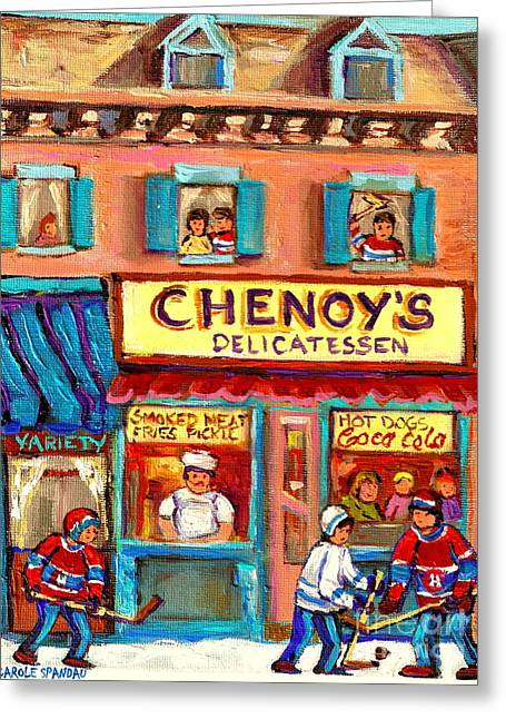 Street Scenes Greeting Cards - Chenoys Delicatessen Montreal Landmarks Painting  Carole Spandau Street Scene Specialist Artist Greeting Card by Carole Spandau