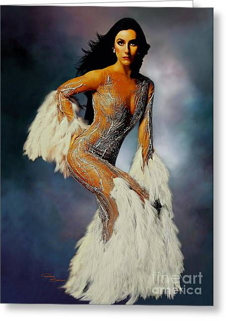 Magazine Cover Greeting Cards - Cher White Feathers Greeting Card by Donna  Schellack