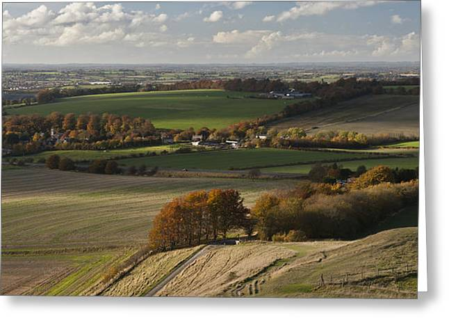 Vale Greeting Cards - Cherhill Down Autumn Landscape Greeting Card by Nigel Forster