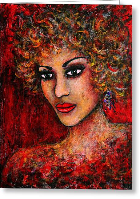 Woman With Big Hair Greeting Cards - Cherise Greeting Card by Natalie Holland