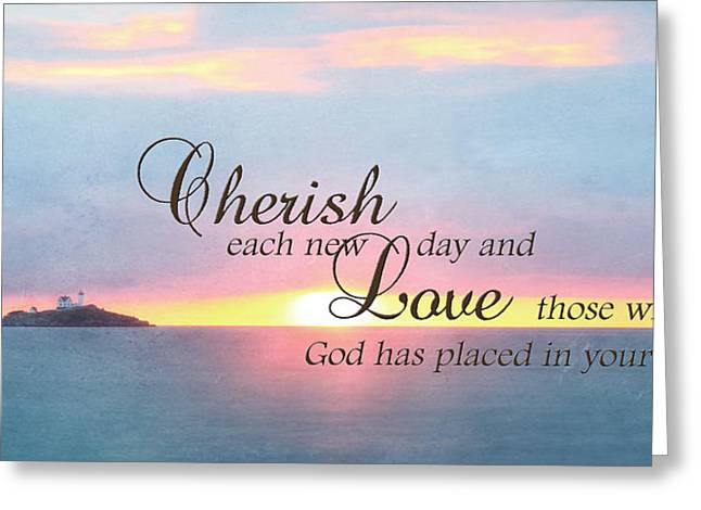 Atlantic Beaches Greeting Cards - Cherish Love Greeting Card by Lori Deiter