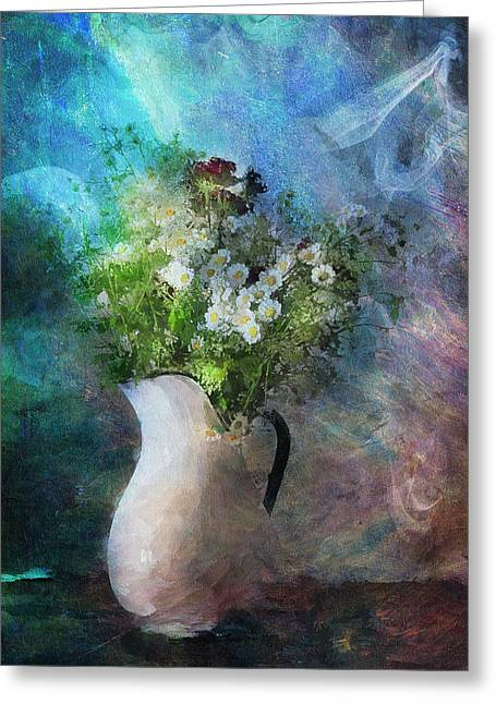 Vase Of Flowers Greeting Cards - Cherished Rose From Summer Greeting Card by Georgiana Romanovna