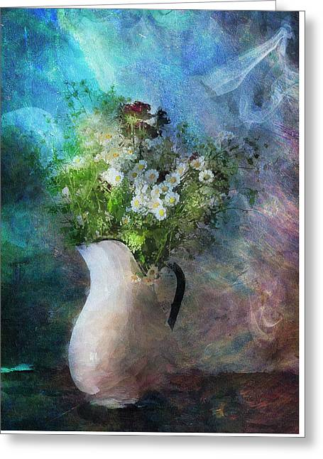 Vase Of Flowers Mixed Media Greeting Cards - Cherished Rose From Summer Greeting Card by Georgiana Romanovna