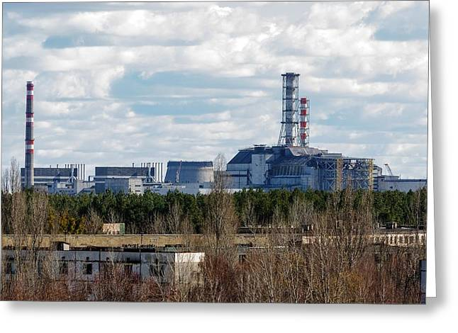 Power Plants Pyrography Greeting Cards - Chernobyl Nuclear Power Plant from afar 2012 Greeting Card by Oliver Sved