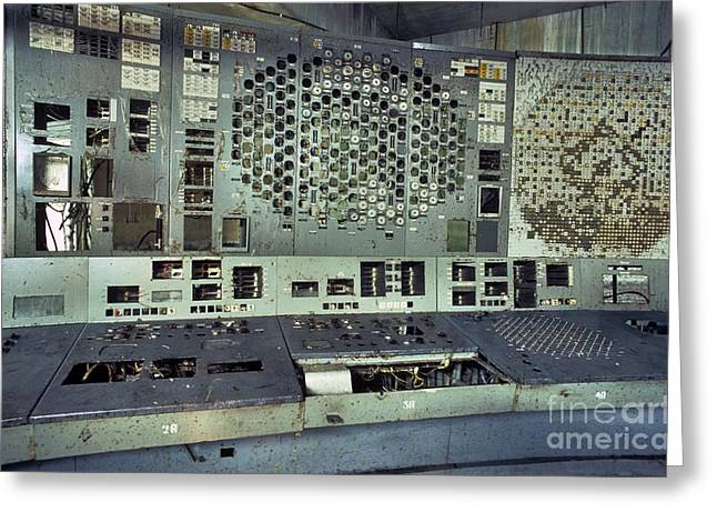 Meltdown Greeting Cards - Chernobyl Reactor 4 Control Panel Greeting Card by Patrick Landmann