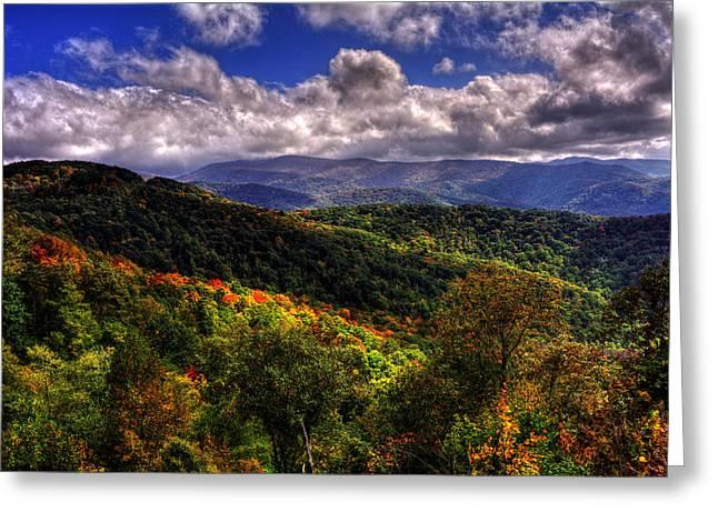 Skyway Greeting Cards - Cherohala Skyway Brushy Ridge Overlook Greeting Card by Greg Mimbs
