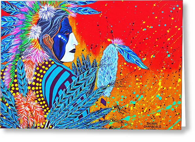 Debbie Chamberlin Greeting Cards - Step Proudly Cherokee Dancer Greeting Card by Debbie Chamberlin