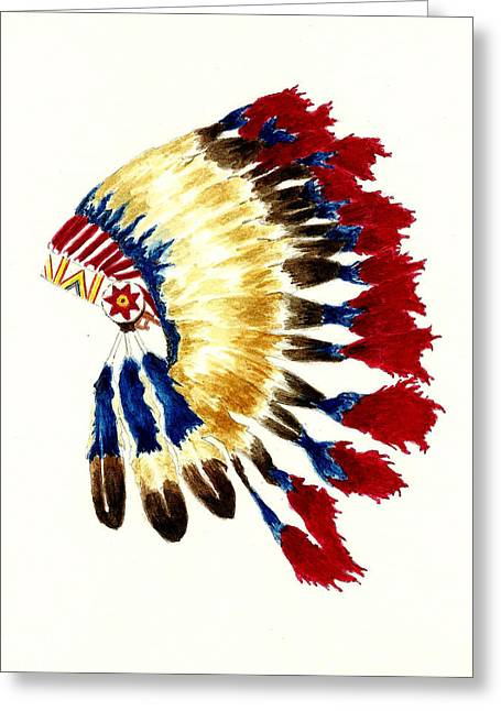 Native American Illustration Greeting Cards - Cherokee Headdress Greeting Card by Michael Vigliotti