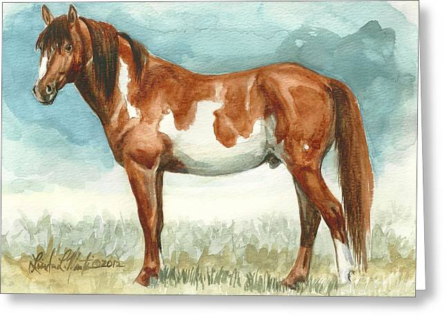 Cherokee Wild Stallion of Sand Wash Basin Greeting Card by Linda L Martin