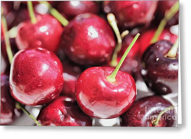 Deli Greeting Cards - Cherries 2 Greeting Card by Cheryl Young