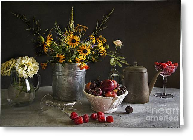 Glass Bottle Greeting Cards - Cherries and berries Greeting Card by Elena Nosyreva