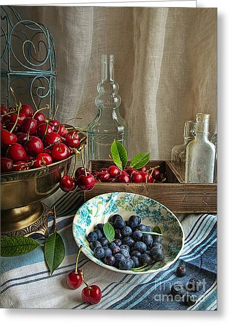Glass Bottle Greeting Cards - Cherries And Blueberries Greeting Card by Elena Nosyreva