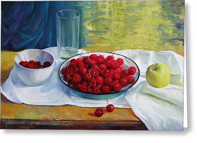 Wooden Bowls Paintings Greeting Cards - Cherries Greeting Card by Elena Oleniuc