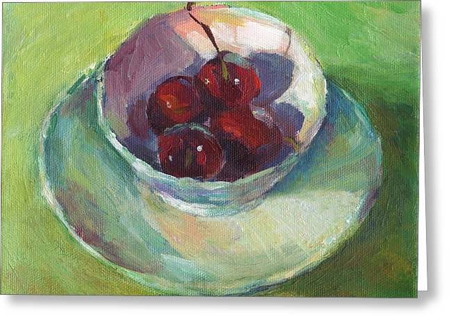 Vibrant Drawings Greeting Cards - Cherries in a Cup #2 Greeting Card by Svetlana Novikova