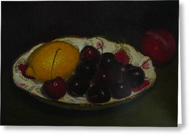 Terry Perham Greeting Cards - Cherries In A German Dish Greeting Card by Terry Perham