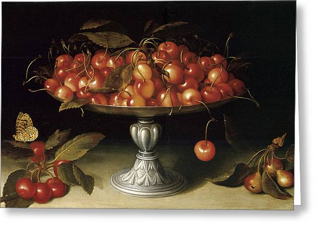 Compote Greeting Cards - Cherries in a Silver compote with crabapples Greeting Card by Fede Galizia