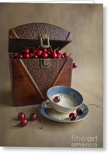 Fresh Food Photographs Greeting Cards - Cherries In The Box Greeting Card by Elena Nosyreva