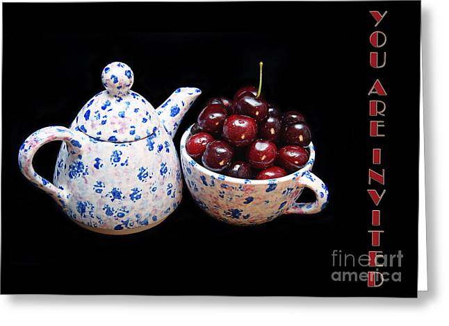 Cherries Invited To Tea Invitation Greeting Card by Andee Design
