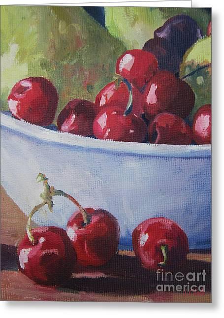 Cherry Art Greeting Cards - Cherries Greeting Card by John Clark