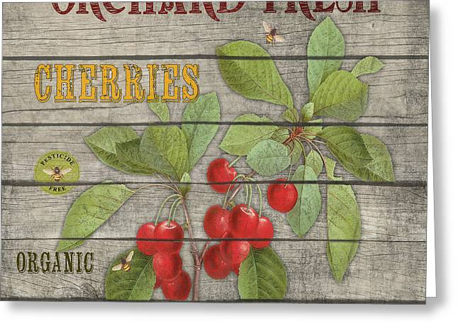 Locally Grown Greeting Cards - Cherries-JP2675 Greeting Card by Jean Plout