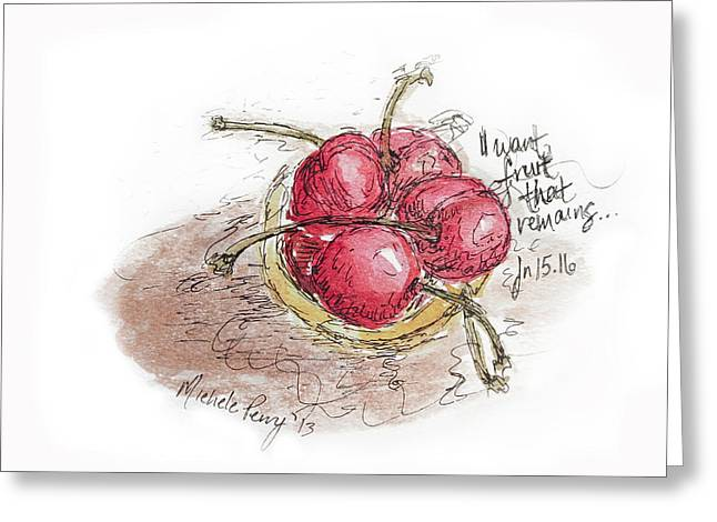 Sketchbook Greeting Cards - Cherries Greeting Card by Michele Perry