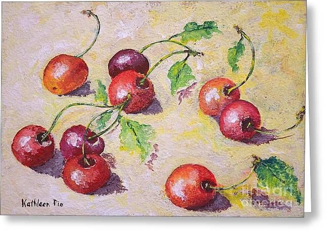 Painted Recipes Greeting Cards - Cherries on the Ground Greeting Card by Kathleen Pio