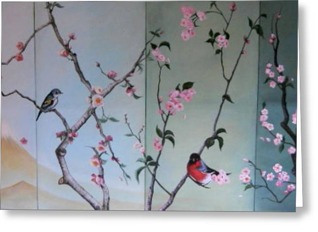 Cherry At The Foot Of Mount Fuji Greeting Card by Sorin Apostolescu