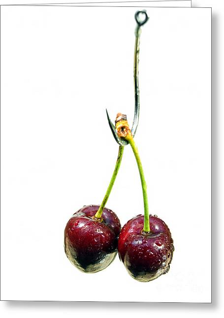 Compote Greeting Cards - Cherry bait Greeting Card by Sinisa Botas