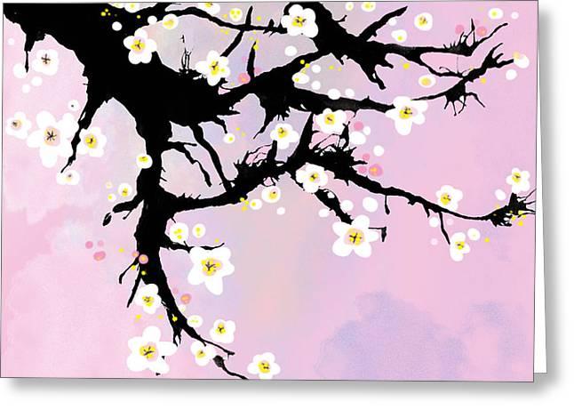 Pink Flower Branch Digital Art Greeting Cards - Cherry blosom  Greeting Card by Sladjana Vasic