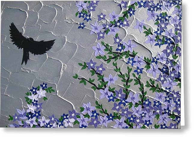 Catherine White Greeting Cards - Cherry blossom and bird Greeting Card by Cathy Jacobs