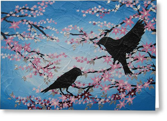 Bird On Tree Mixed Media Greeting Cards - Cherry Blossom Birds Greeting Card by Cathy Jacobs