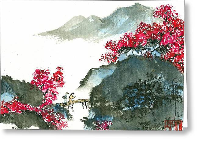 Cherry Blossoms Paintings Greeting Cards - Cherry Blossom Bridge Greeting Card by Linda Smith