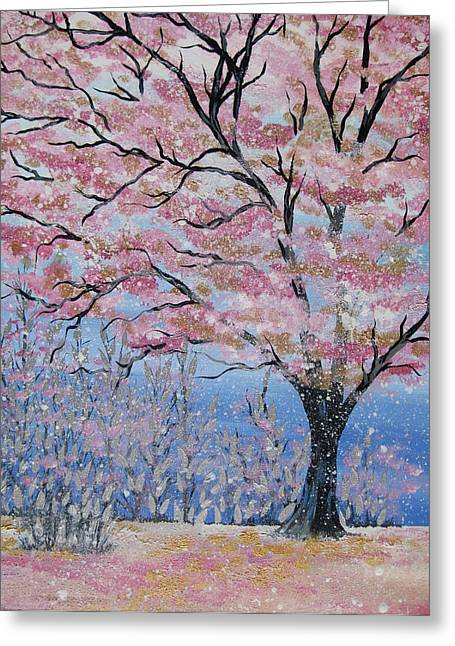 Cherry Blossoms Paintings Greeting Cards - Cherry Blossom Greeting Card by Cathy Jacobs
