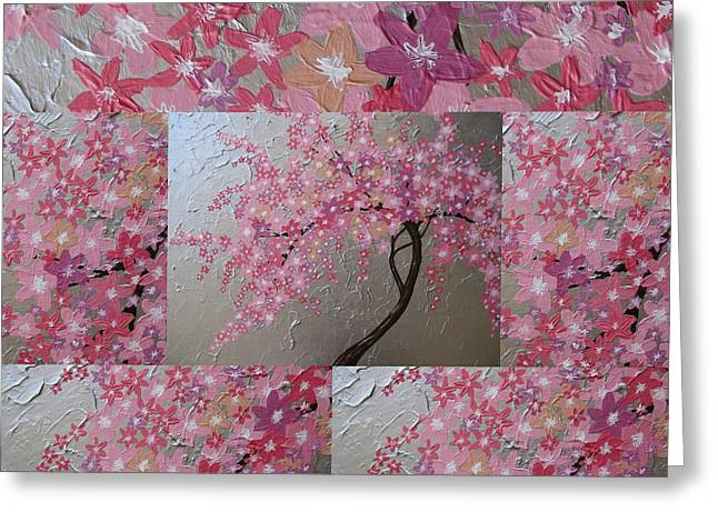 Cherry Blossom Collage Greeting Card by Cathy Jacobs
